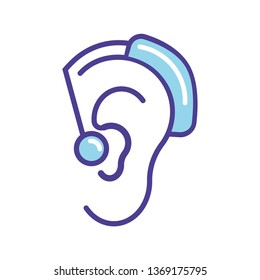 Blue hearing aid  icon vector illustration  isolated on white background