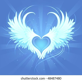 Blue heart of an angel with painted art, beautiful white wings on a blue background radiant