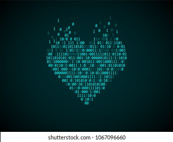 Blue heart of binary code. Concept of virtual love, online Dating, robotization, artificial intelligence