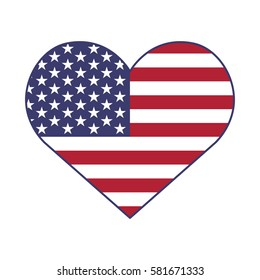 Blue heart with flag of the United States