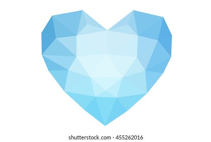 Blue heart isolated on white background. Geometric rumpled triangular low poly origami style gradient graphic illustration.
