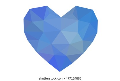 Blue heart isolated on white background. Geometric rumpled triangular low poly origami style gradient graphic illustration. Vector polygonal design for your business.
