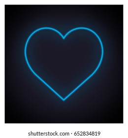 Blue heart neon light on black background