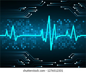 Blue Heart pulse monitor with signal. Heart beat. icon. ekg