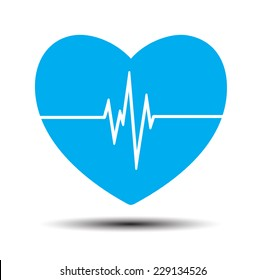 Blue Heart pulse monitor with signal. Heart beat. icon.