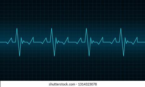 Blue heart pulse signal on monitor.
