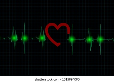 Blue heart pulse signal on monitor, healthcare concept.