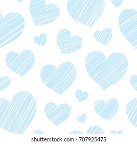Blue heart seamless background, color, vector. Blue hearts drawn with a diagonal bar on a white field. Vector seamless pattern.