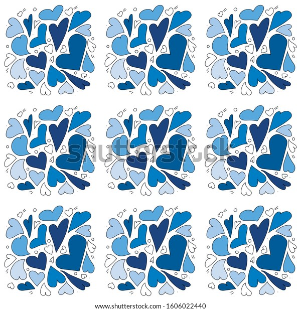 Blue Hearts Pattern Vector Design Simple Stock Vector Royalty Free 1606022440,Mehndi Designs For Beginners For Kids