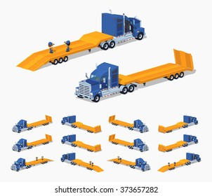 Blue heavy truck with yellow low-bed trailer. 3D lowpoly isometric vector illustration. The set of objects isolated against the white background and shown from different sides