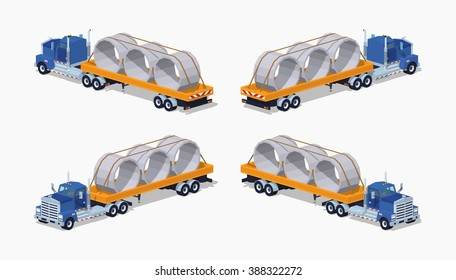 Blue heavy truck and yellow trailer with concrete rings on it. 3D lowpoly isometric vector illustration. The set of objects isolated against the white background and shown from different sides