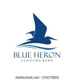 blue heron logo design vector
