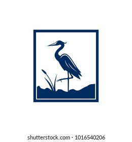 Blue Heron Logo Vector