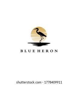 blue heron logo vector black