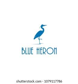 Blue Heron silhouette vector logo
