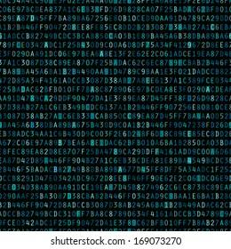 Blue hexadecimal computer code repeating vector background wallpaper