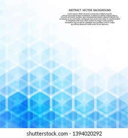 blue hexagon. abstract vector background. geometric design. polygonal style.  layout for presentation