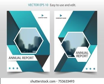 Blue hexagon brochure flyer annual report Leaflet template design, book cover layout design, abstract business presentation template, a4 size design