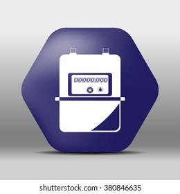 blue hexagon icon or logo white gas meter