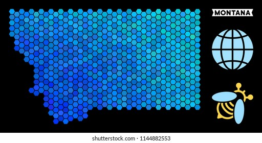 Blue Hexagon Montana State map. Geographic map in blue color tints on a black background. Vector composition of Montana State map constructed of hexagon elements.