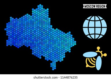 Blue Hexagon Moscow Oblast map. Geographic map in blue color tinges on a black background. Vector pattern of Moscow Oblast map composed of hexagon elements.