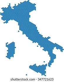 Blue hexagon shape Italy map on white background, vector illustration.