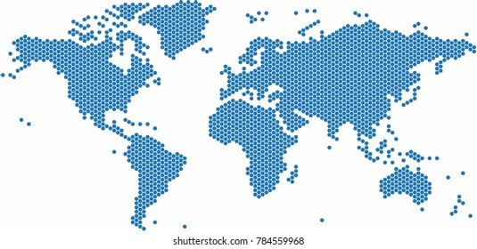 Hexagon shape world map on white stock vector 175136825 shutterstock blue hexagon shape world map on white background vector illustration gumiabroncs Gallery