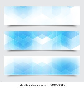 Blue hexagon.Abstract background.Set of banners.