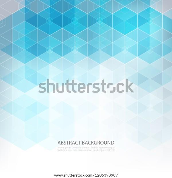Blue Hexagonal Shape Abstract Background Geometric Stock