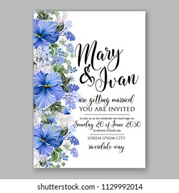 Blue hibiscus tropical flower Floral wedding invitation vector printable card template