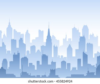 Blue high detail vector background composed of lots of illustrations of generic buildings and skyscrapers