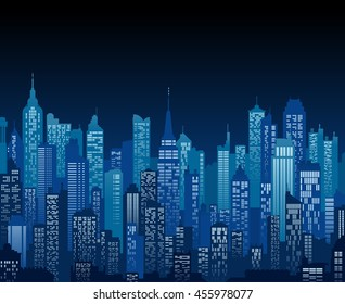 Blue high detail vector background of a city night view composed of lots of generic buildings and skyscrapers