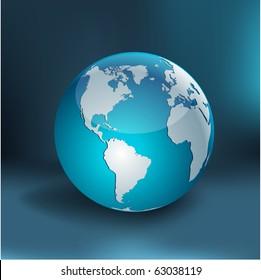 Blue high-detailed earth ball. Vector.