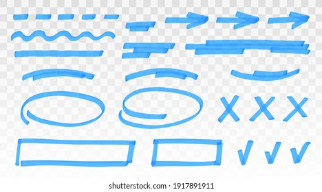 Blue highlighter set - lines, arrows, crosses, check, oval, rectangle isolated on transparent background. Marker pen highlight underline strokes. Vector hand drawn graphic stylish element