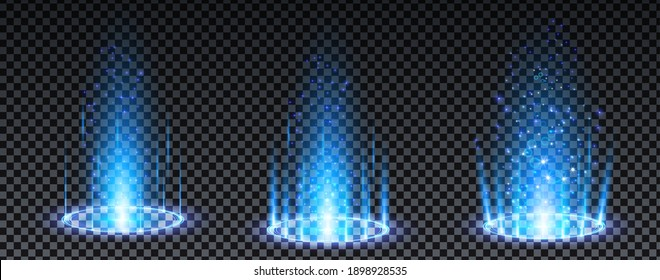 Blue hologram portal. Magic fantasy portal. Magic circle teleport podium with hologram effect. Vector blue glow rays with sparks on transparent background