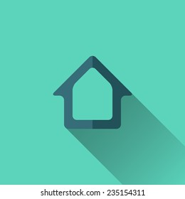Blue home icon. Flat design. Turquoise background