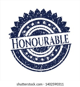 Blue Honourable distress rubber grunge stamp