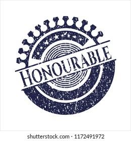 Blue Honourable grunge seal