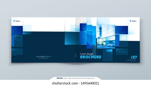 Blue Horizontal Brochure Cover Template Layout Design. Corporate Business Horizontal Brochure, Annual Report, Catalog, Magazine, Flyer Mockup. Creative Modern Brochure Concept with Square Shapes