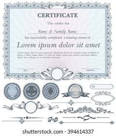 Blue horizontal certificate template with additional design elements