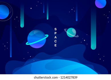 blue horizontal space background with abstract shape and planets. falling asteroids. Web design. vector illustration.