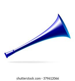 Blue horn or trumpet (vuvuzela)