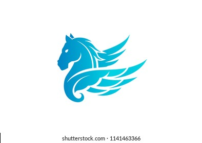 Blue Horse Pegasus Logo Symbol Vector Design Illustration