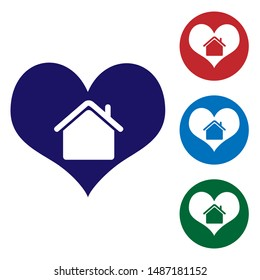 Blue House with heart shape icon isolated on white background. Love home symbol. Family, real estate and realty. Set color icons in circle buttons. Vector Illustration