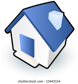 A blue house icon to signify homepages on a website, or simply to serve as a cute house image.