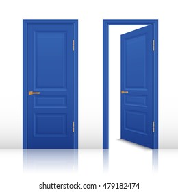 Blue house room open and closed doors with brown handles set isolated realistic vector illustration
