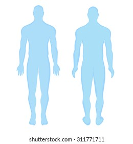 Blue human anatomical man silhouette view from the front. anatomical human man silhouette  view from the back. Modern Medical vector infographics. Medic anatomy
