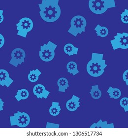 Blue Human head with gear inside icon isolated seamless pattern on blue background. Artificial intelligence. Thinking brain sign. Symbol work of brain. Vector Illustration