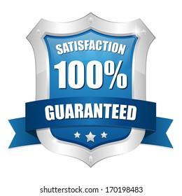 Blue hundred percent satisfaction shield