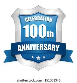 Blue hundred year anniversary shield